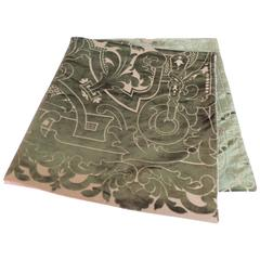 19th century silk velvet Gaufrage green throw