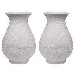 Pair of Fine Carved Elegant Form White Porcelain Vases