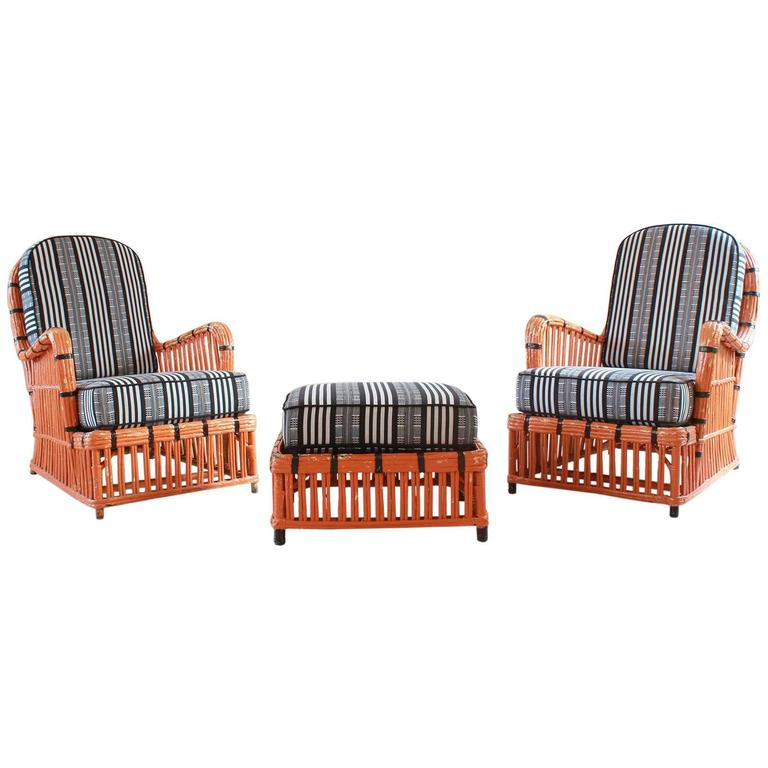 Pair of Orange and Black Garden Chairs Upholstered in Black and White Fabric 1