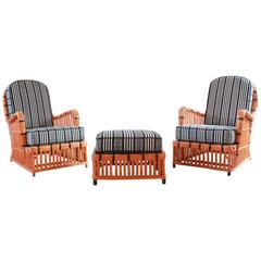 Pair of Orange and Black Garden Chairs Upholstered in Black and White Fabric