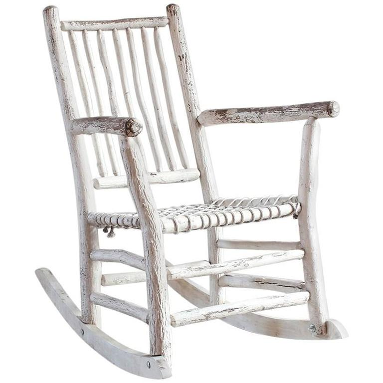 Wood Painted Rocking Chair with Rope Seat For Sale