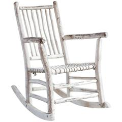 Wood Painted Rocking Chair with Rope Seat
