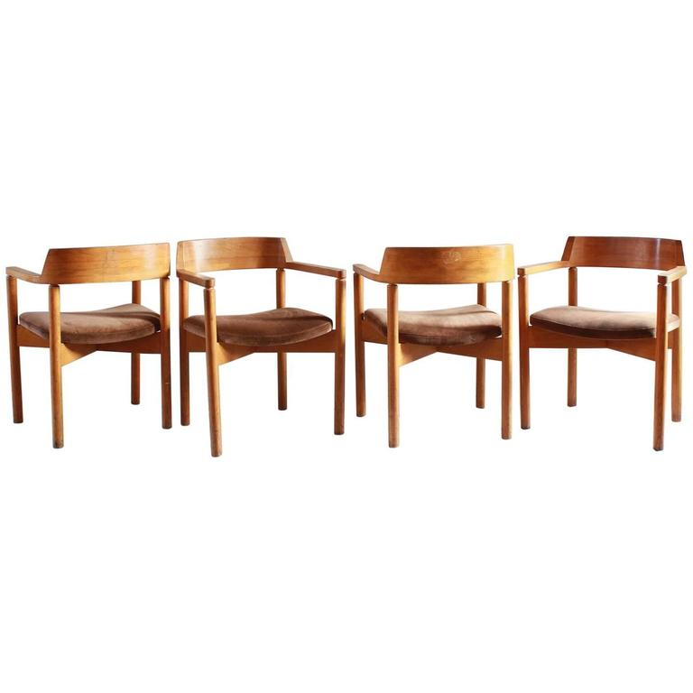 Set of Four Oak Curved Backed Dining Chairs with Brown Corduroy Seat Cushions For Sale