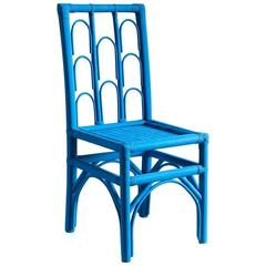 Hand-Painted Cobalt Wood Moroccan Side