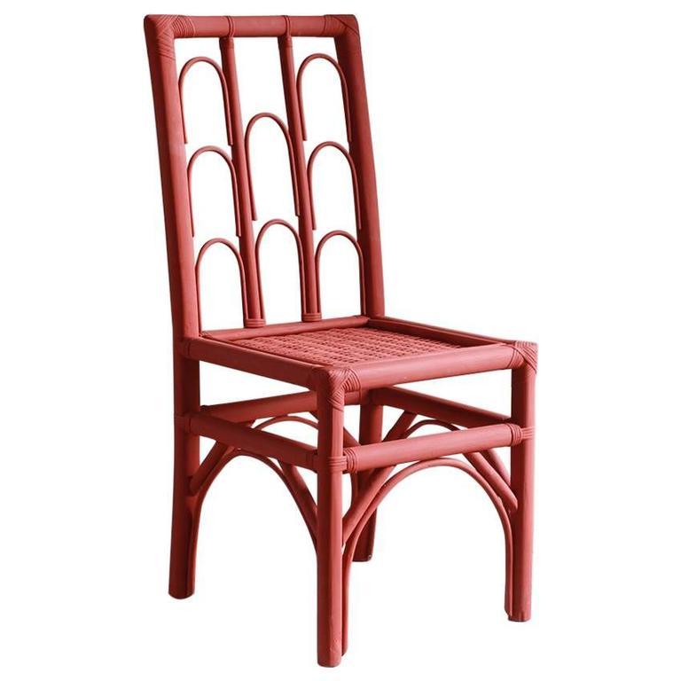 Rust Colored Hand-Painted Side Chair with Woven Seat from Morocco 1