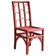 Rust Colored Hand-Painted Side Chair with Woven Seat from Morocco