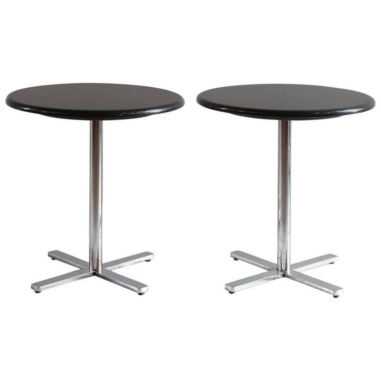 Pair of Side Tables with a Marble Top and Pedestal Chrome X-Base 1