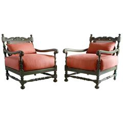 Pair of Green Painted Ornate Wood Framed Armchairs