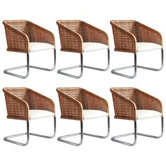 Set of Six Wicker and Chrome Basket Chairs