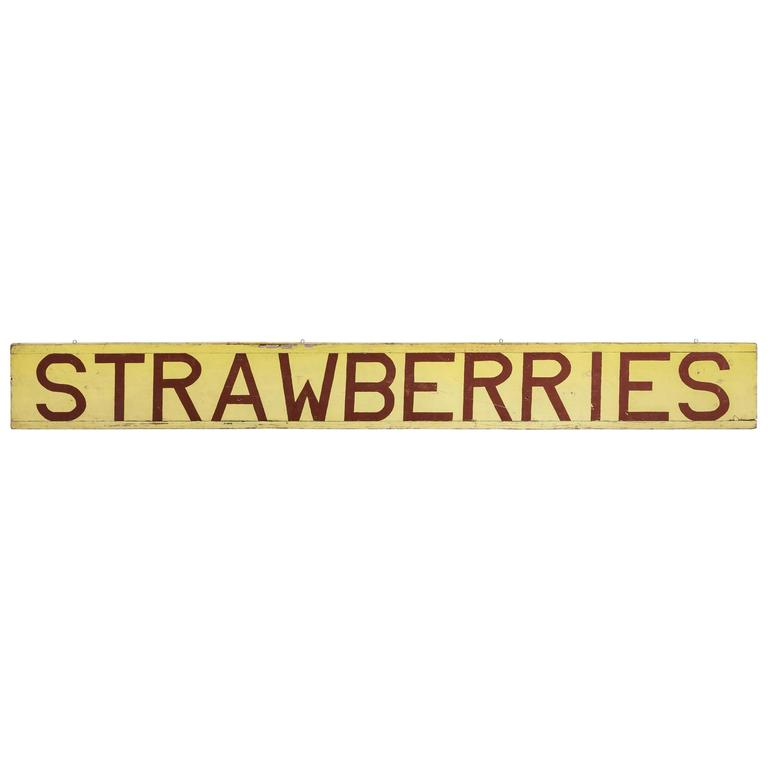 Central California Farm Stand Hand-Painted Strawberries Sign 1