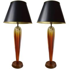 Elegant Pair of Seguso Table Lamps
