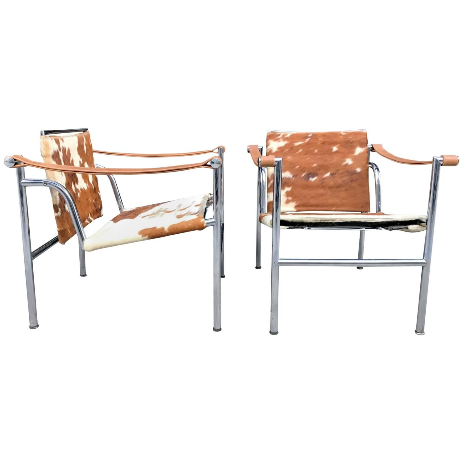 Lovely Pair Of Le Corbusier LC1 Style Sling Lounge Chairs For Sale At 1stdibs