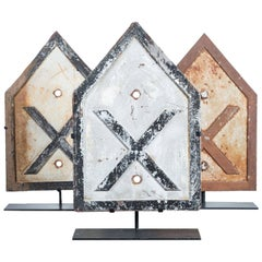 """Collection of Three Early 20th Century """"XXX"""" Cast Iron Railroad Crossing Signs"""