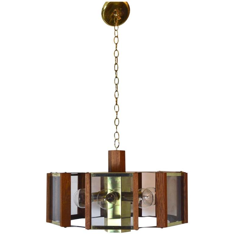 Hexagonal Br Smoked Lucite And Wood Chandelier By Frederick Ramond For
