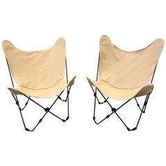 Pair of Jorge Ferrari-Hardoy Iron Butterfly Sling Chairs