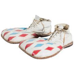 Vintage Circus or Carnival Clown Diamond Red White and Blue Clown Shoes