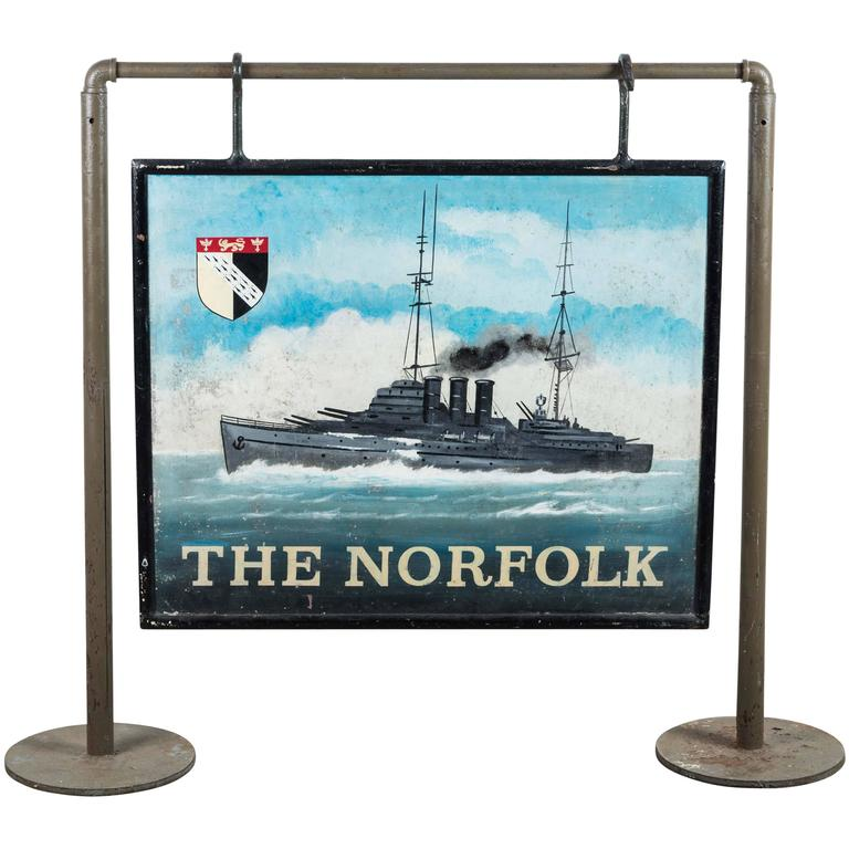 "Early 20th Century Double-Sided Iron Nautical Trade Sign ""The Norfolk"" For Sale"