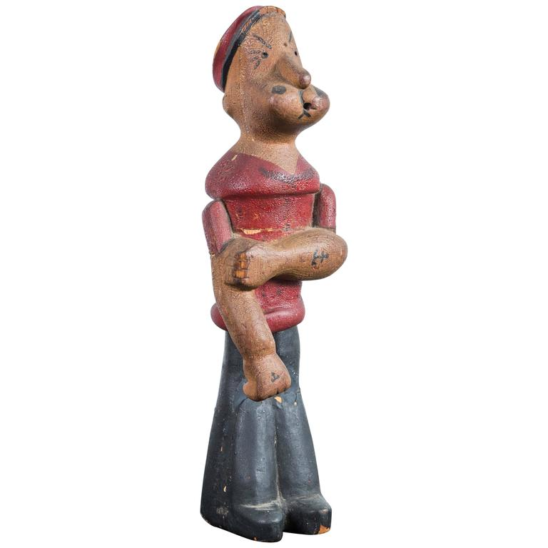 Vintage Hand-Carved Wood Popeye Figure with Original Paint Surface For Sale