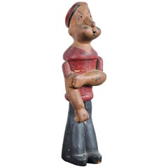 Vintage Hand-Carved Wood Popeye Figure with Original Paint Surface