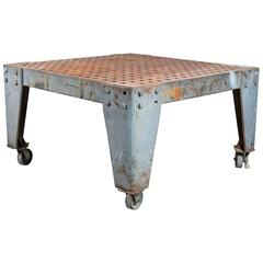 Substantial Cast Iron Vintage Industrial Welder's Table