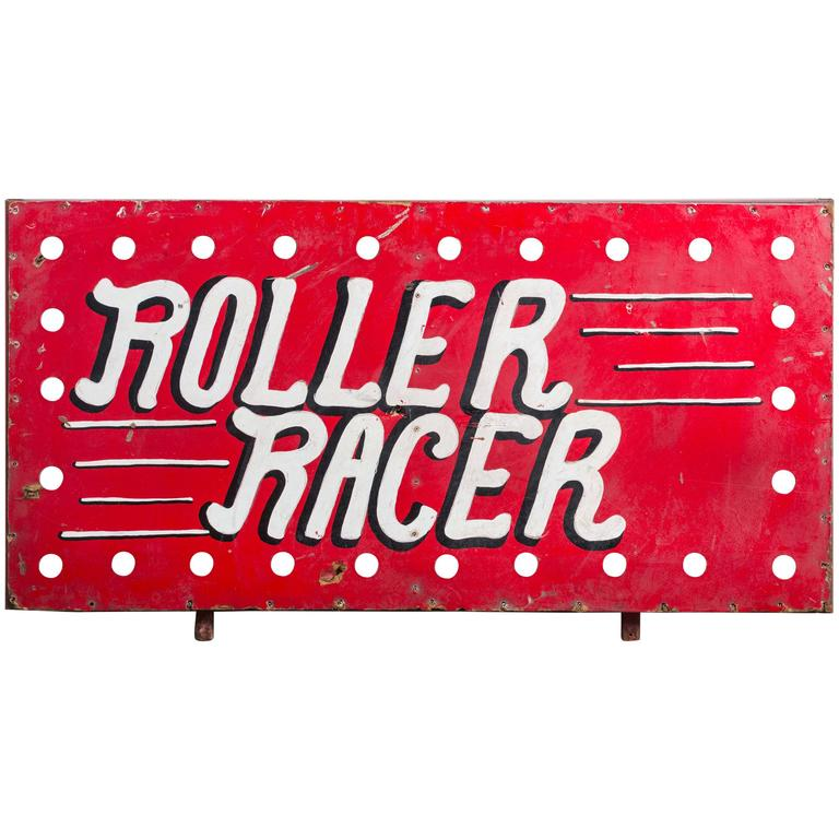 "1940s American Carnival Midway ""Roller Racer"" Sign"