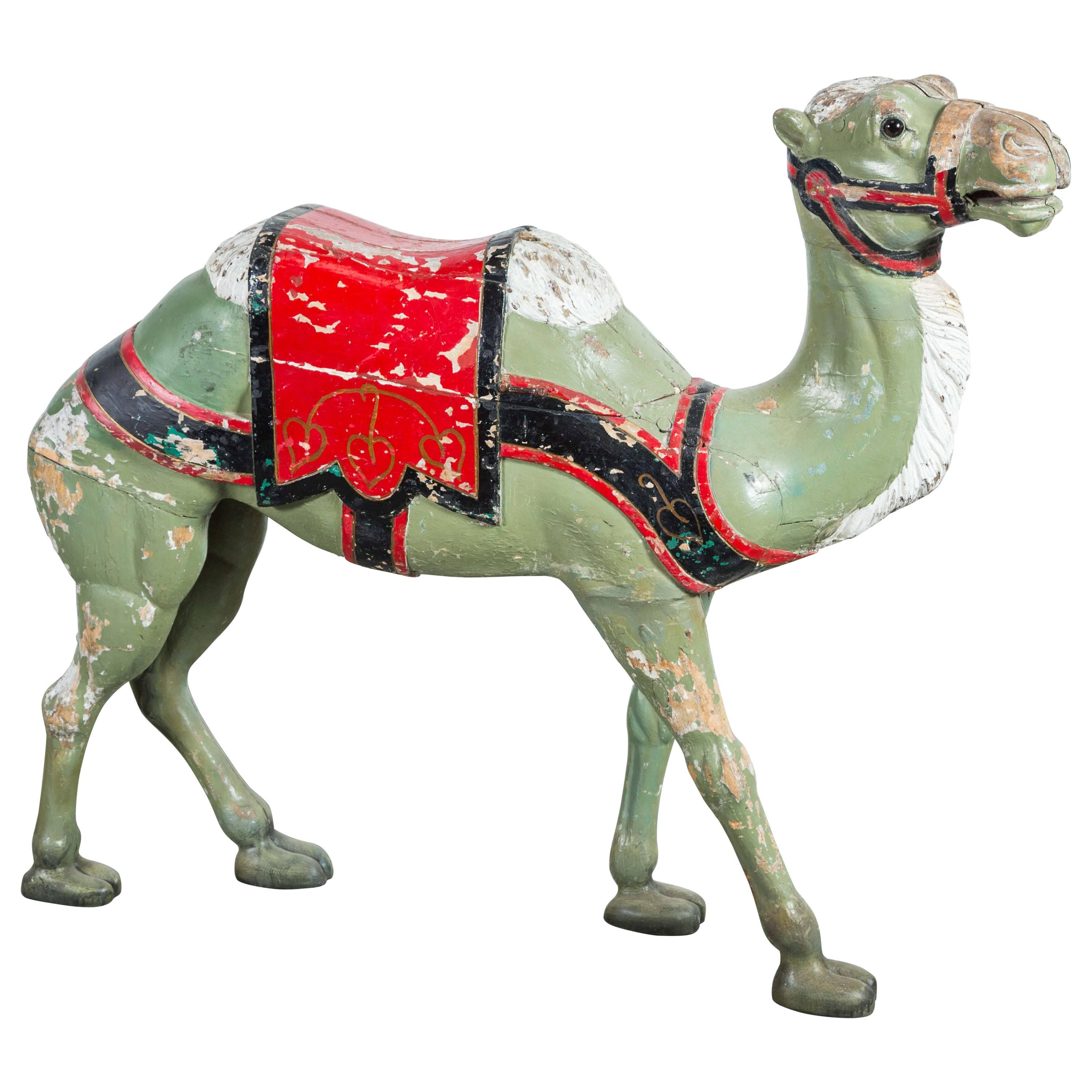 Late 19th Century Hand-Carved Carousel Camel with Glass Eyes
