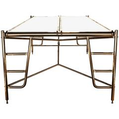 Scaffold Conference Table in Marble and Bronze with Seating for Eight