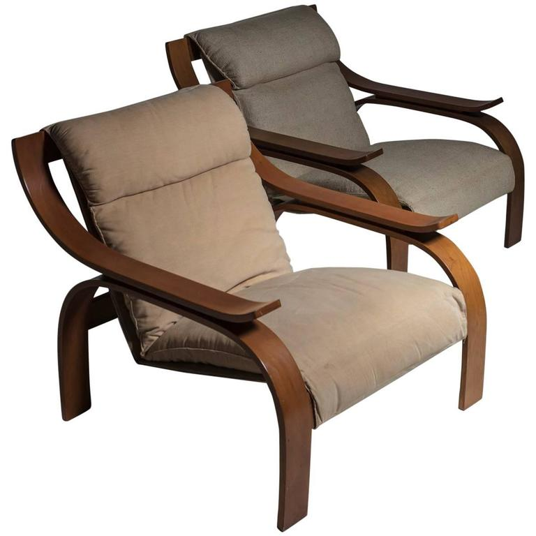 "Pair of ""Woodline"" Lounge Chairs by Marco Zanuso for Arflex"