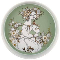 Rosenthal Studio Line, Bjorn Wiinblad Porcelain Bowl, Motif of Woman and Bird