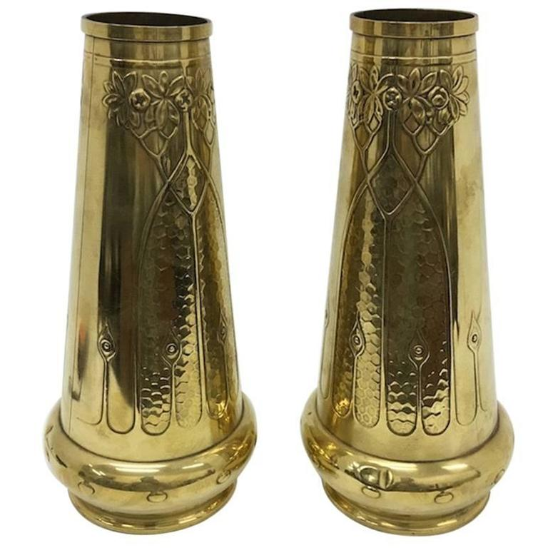 Pair of Art Nouveau Brass English Vases, circa 1900