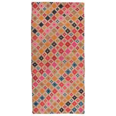 Geometric Vintage Tibetan Scatter Rug Khaden with Diamond Flower Design