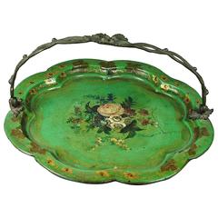 19th Century French Green Papier Mâché Basket Fruit Dish circa 1830 Grand Tour