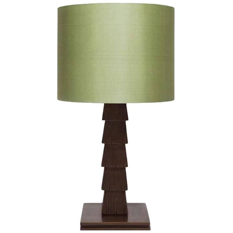 Gigi Table Lamp by Francis Sultana, Bronze and Silk Shade