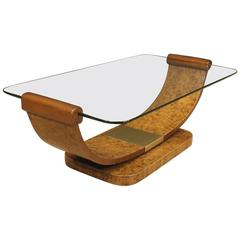 20th Century Italian Coffee Table in Art Deco Style with Glass Top