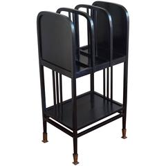 Ebonized Viennese Bentwood Magazine Stand Gustav Siegel and Otto Wagner Style