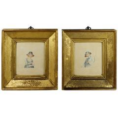 18th Century Miniature Watercolor Pair of Lemon Gilt Frame English, circa 1790