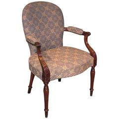 Hepplewhite Period Oval Back Mahogany Armchair Upholstered in Blue Fabric
