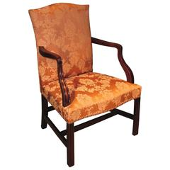 18th Century mahogany gainsborough armchair in burnt sienna fabric
