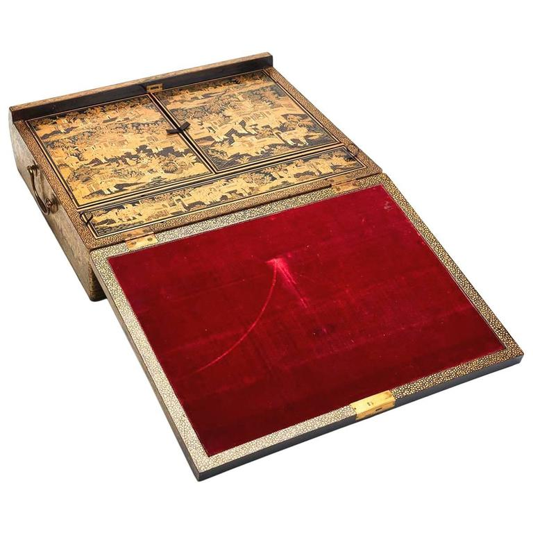 Antique Chinese Lacquer Writing Box, Early 19th Century