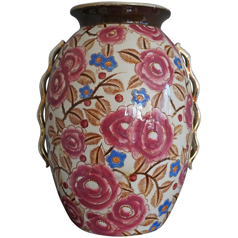Art Deco Vase by Raymond Chevalier for Boch La Louviere Beautiful Floral Design