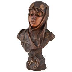 Dalila, French Art Nouveau Bronze Bust of a Girl Emmanuel Villanis, 1890