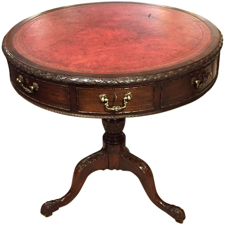 Fine Quality Mahogany Chippendale Revival Antique Drum Table For Sale