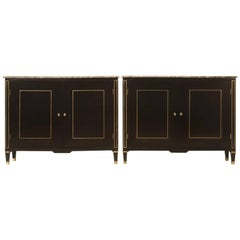 Pair of Matching Louis XVI Style Ebonized Buffets with Original Marble Tops