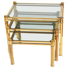 Nest of 1960s Italian Brass Side Tables