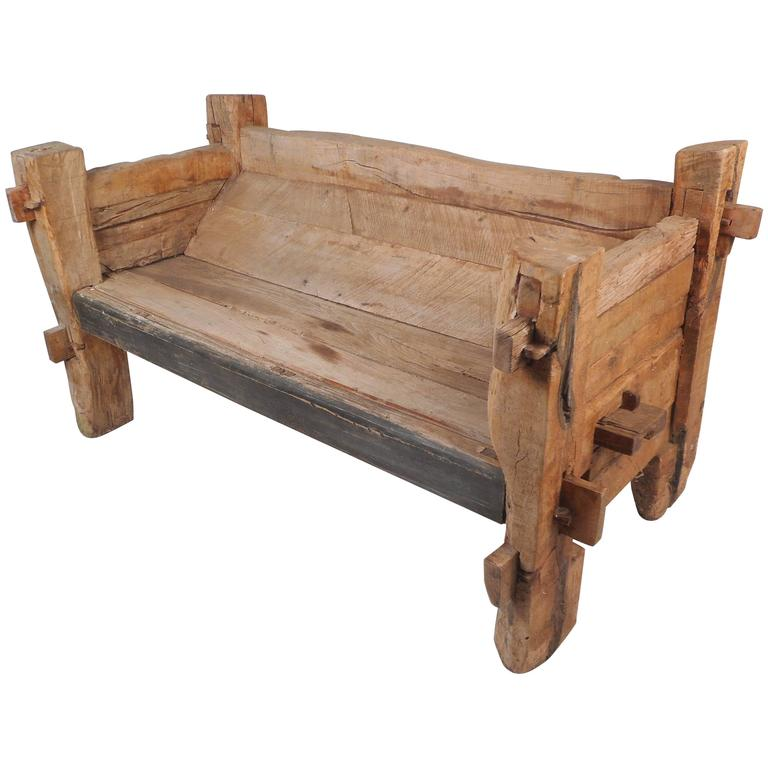 Impressive Rustic Wood Bench For Sale At 1stdibs