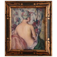 French Art Deco Painting, Nude with Turban by Léonie Humbert Vignot, 1920