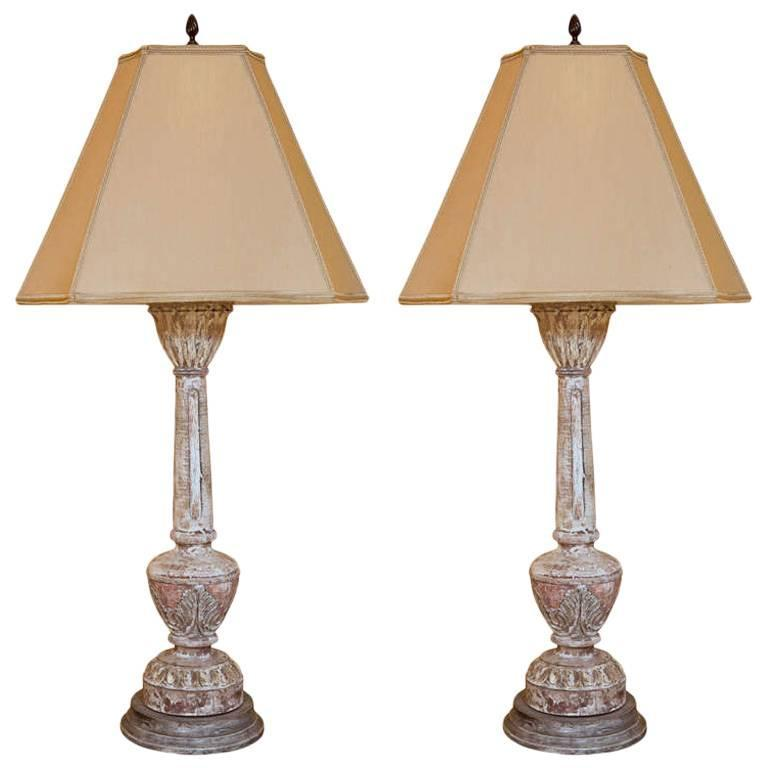 Pair of Carved and Painted Wooden Italian Lamps For Sale