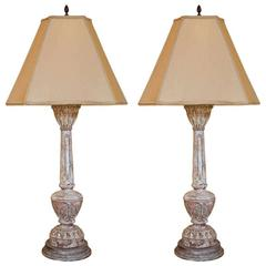 Pair of Carved and Painted Wooden Italian Lamps