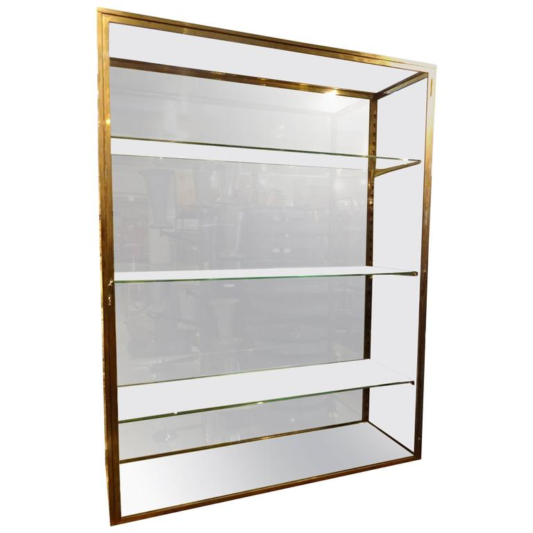early 20th century brass vitrine glass cabinet for sale at. Black Bedroom Furniture Sets. Home Design Ideas