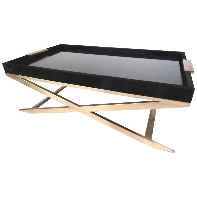 Modern Coffee Table With Brass X Frame Base For Sale